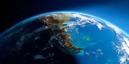 Highly detailed Earth with atmosphere, exaggerated relief and light-flooded cities. Transition from night to day. South America. Tierra del Fuego. 3D rendering.