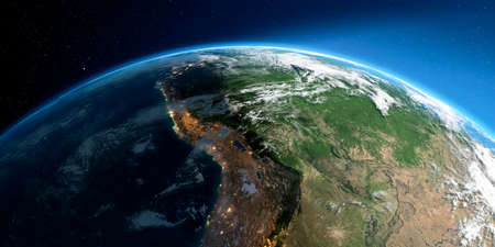 Highly detailed Earth with atmosphere, exaggerated relief and light-flooded cities. Transition from night to day. South America. Bolivia, Peru, Brazil. 3D rendering.
