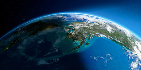 Highly detailed Earth with atmosphere, exaggerated relief and light-flooded cities. Transition from night to day. Chukotka, Alaska and the Bering Strait. 3D rendering. Stock Photo