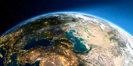 Highly detailed Earth with atmosphere, exaggerated relief and light-flooded cities. Transition from night to day. Europe. Caucasus and the Caspian Sea. 3D rendering. Stock fotó - 129136226