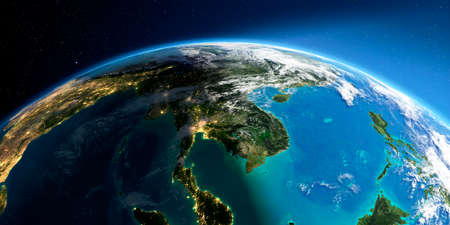 Highly detailed Earth with atmosphere, exaggerated relief and light-flooded cities. Transition from night to day. Asia. Indochina peninsula. 3D rendering. Stock fotó - 129136218