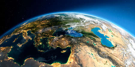Highly detailed Earth with atmosphere, exaggerated relief and light-flooded cities. Transition from night to day. Europe and Middle East countries. 3D rendering. Stock fotó