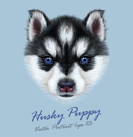 ハスキーの子犬のベクトル イラスト肖像画。青い目を持つ二色子犬のかわいいヘッド。