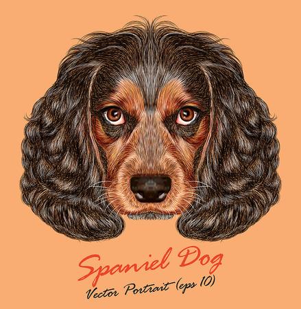 スパニエル犬のベクトルの肖像。かわいい若いロシア狩猟スパニエル。