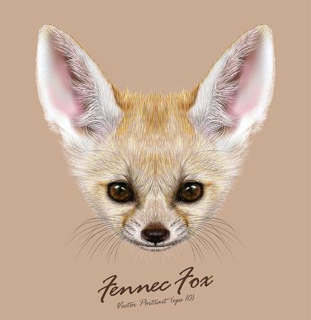 Vector Illustrative portrait of Fennec Fox. Cute face of special African Fox. Ilustração
