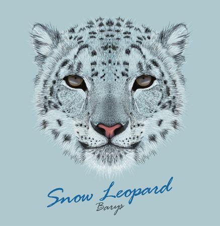 Vector Portret van een Snow Leopard. Irbis of Barys in de winter. Stock Illustratie
