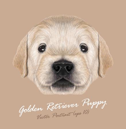 ベージュ色の背景にかわいい肖像画の犬の赤ちゃん  イラスト・ベクター素材