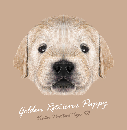 Cute Portrait of Dogs' Baby on beige background Illustration