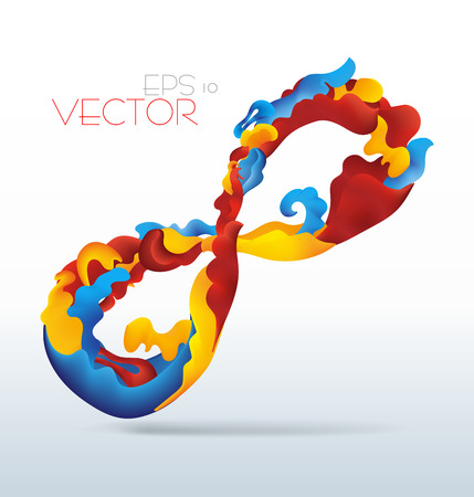 fluid: Vetor modern abstract waving fluid infinity sign with blue, yellow and red elements