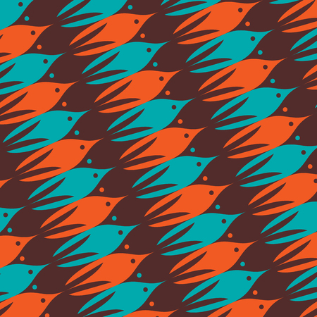 one object: Marine tessellation background. Overflowing of one object to another. Vector illustration