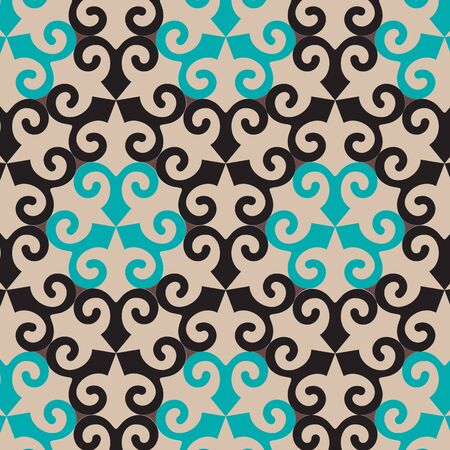 medley: Vector oriental ornamental seamless pattern with blue and black element. Abstract background. Illustration