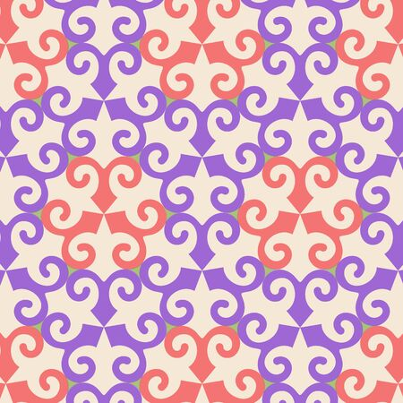 medley: Vector oriental ornamental seamless pattern with violet and orange element. Abstract background.