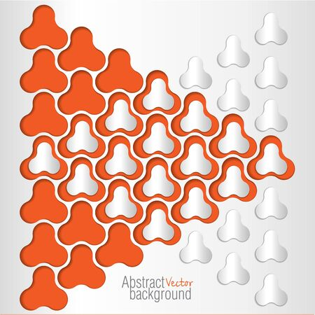 3 dimensional: Vector Abstract 3 Dimensional objects Design on orange background