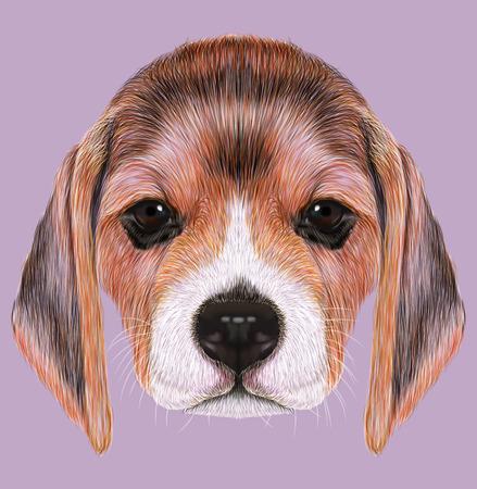 Leuk Gezicht van Beagle Puppy op tan achtergrond