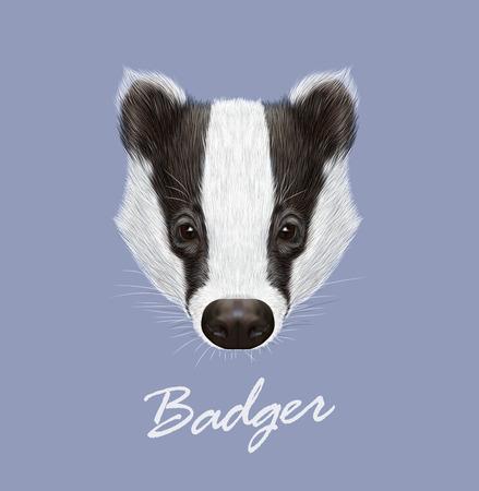 Vector ilustrado Retrato de tejón. animales bosque salvaje. cara blanco y negro lindo en el fondo azul.