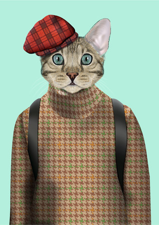 Vector Illustration of domestic cat in tweed pullover and blue tweed cap. Fashion anthropomorphic character
