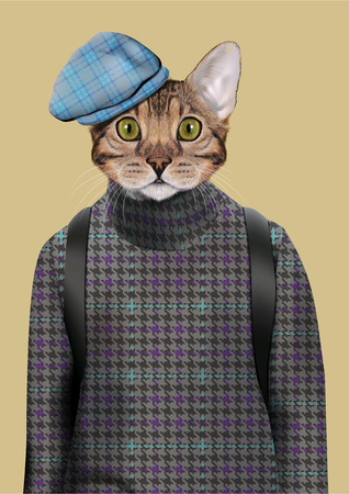 Vector Illustration of domestic cat in tweed pullover and red tweed cap. Fashion anthropomorphic character Illustration