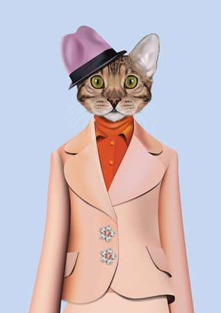 anthropomorphism: Vector Illustration of domestic cat in blue suit, purple shirt, a violet hat. Illustration