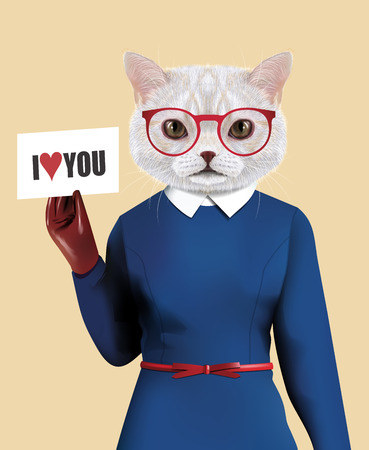 anthropomorphism: Vector Illustration of domestic cat in a blue dress with a red belt, gloves and glasses in a red frame. Cat is holding a sheet of paper I love You
