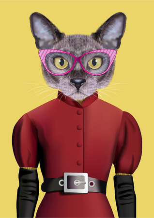 Vector Illustration of Burmese cat in a red dress with a black belt, gloves and glasses in a pink frame.