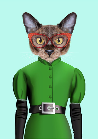 Illustration of Burmese cat in a green dress with a black belt, gloves and glasses in a red frame.