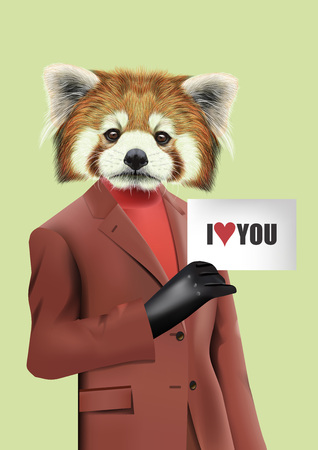 turtleneck: Vector Illustration of Red Panda in peach color jacket, turtleneck and gloved hand holding the sheet of paper I love You