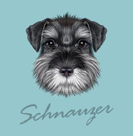 Vector illustrated Portrait of  Black Schnauzer on blue background.