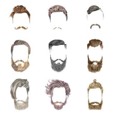 Hipster stijl van mannen kapsel. Fashion vector illustratie.