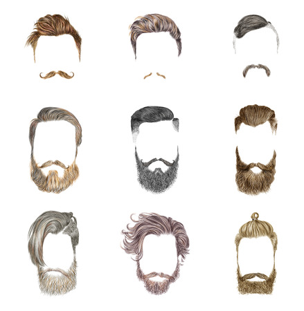 beard man: Hipster style of mens hairstyle. Fashion vector illustration.
