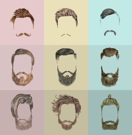 Hipster style of mens hairstyle. Fashion vector illustration.