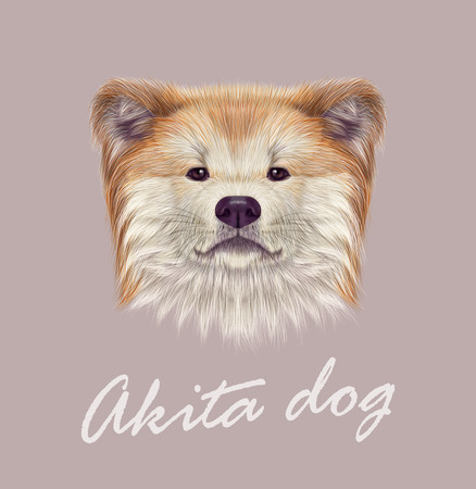 nose close up: Vector Illustrated Portrait of Dog on pink background.