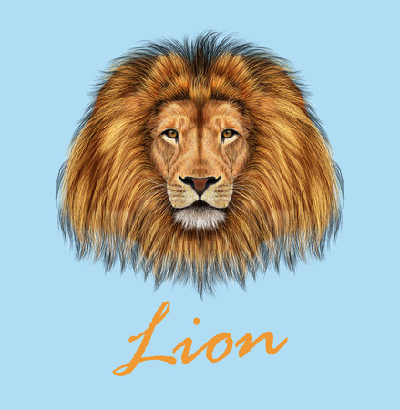Vector Illustrated portrait of Lion on blue background.  イラスト・ベクター素材