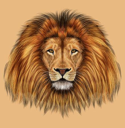 Geïllustreerd portret van de Leeuw op tan achtergrond