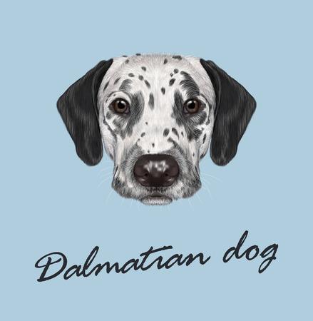 ベクトルは、青の背景に黒の斑点のある犬の肖像画を示す  イラスト・ベクター素材