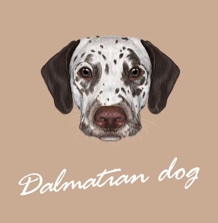 Vector geïllustreerd portret van bruin-bevlekte hond op tan achtergrond