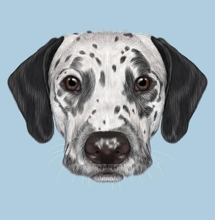 blackspotted: Illustrated portrait of black-spotted dog on blue background Stock Photo