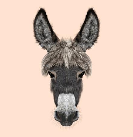 Geïllustreerd portret van grijze Ezel op roze achtergrond