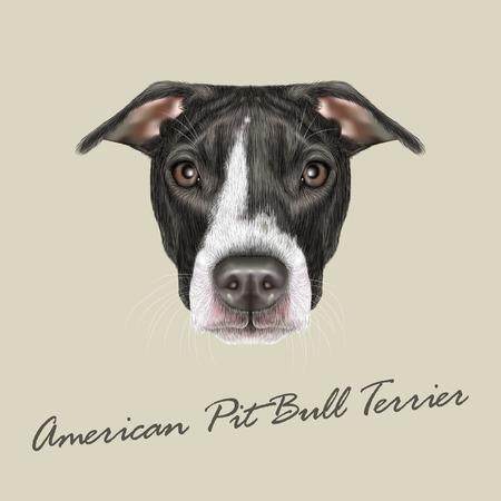 dessin noir et blanc: Vector illustrée portrait de chien sur fond gris
