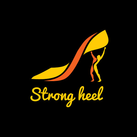 cinderella shoes: Vector logotype womens high heel shoes in the form of male athlete Illustration