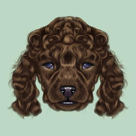 Illustrated portrait of brown dog on blue background.
