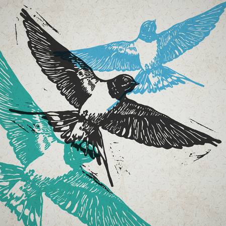 linocut: Linocut swallows in flight in different colors on the old paper