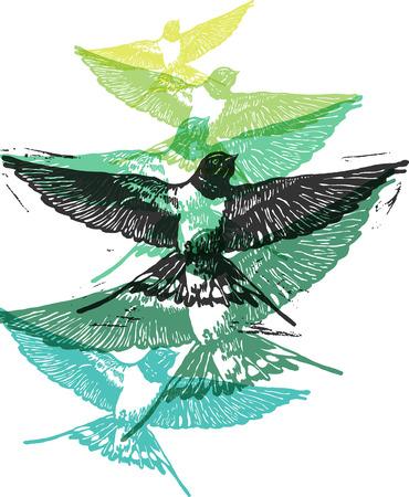 hirondelles Linocut en vol en différentes couleurs sur fond blanc