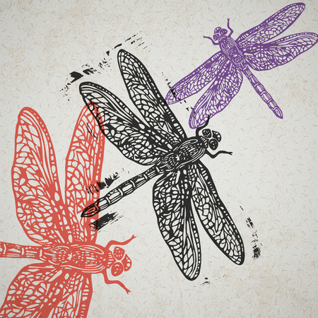 Linocut dragonfly in flight in different colors on old paper Illustration