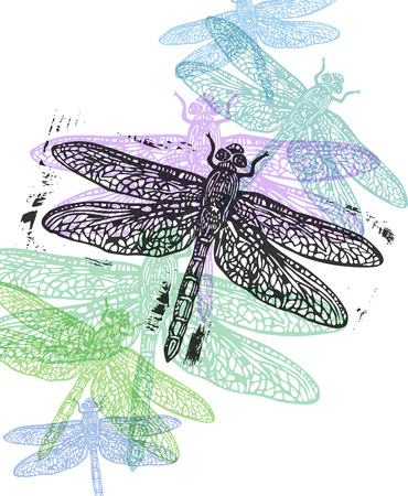 darning: Linocut dragonfly in flight in different colors on white background