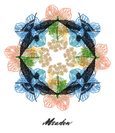 fractals: Bright colored composition with swallows, bees and grass flowers