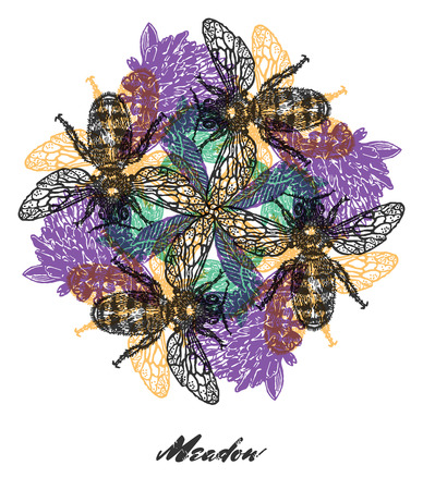 religion  herb: Bright colored composition with bees and clover flowers