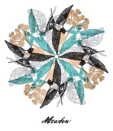 golondrinas: Composici�n de colores brillantes con los tragos, las abejas y las flores de la hierba