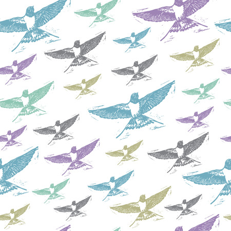 linocut: Vintage elegant seamless pattern with colourful Swallows on white background. Realistic engraved style.