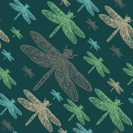 dragonflies: Dragonflies colourful seamless vector pattern. Realistic engraved style.