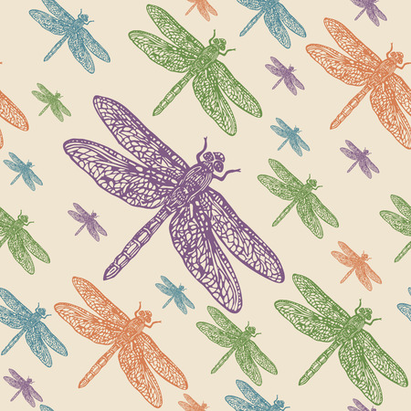 Dragonflies colourful seamless vector pattern. Realistic engraved style.
